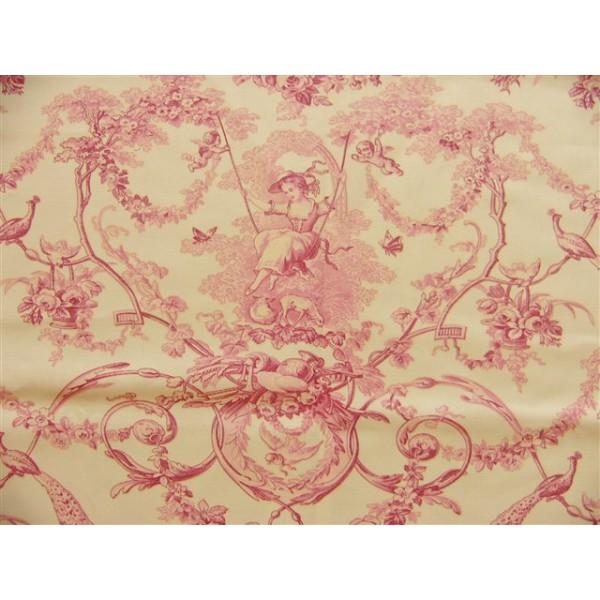 sc1 tissu 280l toile de jouy ludivine rose fond creme ilodoreine. Black Bedroom Furniture Sets. Home Design Ideas