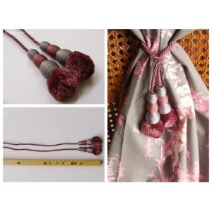 Embrasse rideau Tirette (rose claire & gris)