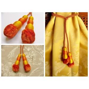 Embrasse rideau Tirette (orange & jaune)