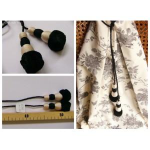 Embrasse rideau Tirette (noir & blanc)