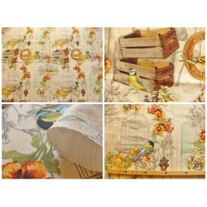 tissu coupon / au metre : Mesange (cages oiseaux, fleurs)