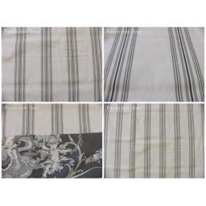 tissu coupon / par 50cm : rayure DANO gris fond ivoire