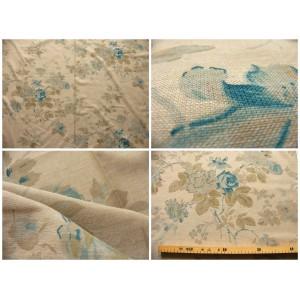 tissu coupon / par 50cm : FLEUR MANON chambray bleu