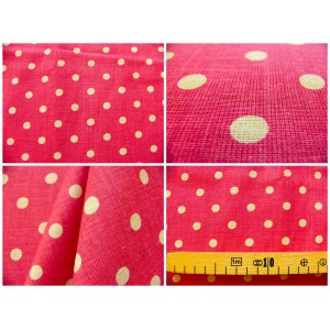 tissu coupon / par 50cm : MOON rouge-chambray