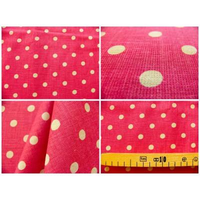 tissu coupon / par 50cm : MOON rouge-chambray