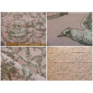 tissu coupon / au mètre : Toile de Jouy COLIN MAILLARD FOND ROSE