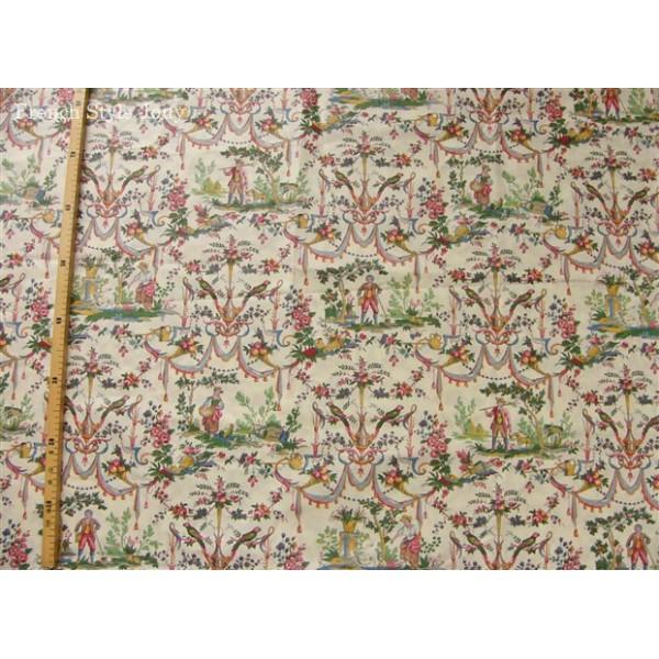 Tissu toile de jouy tissu d 39 ameublement tissu coupon au m tre - Tissu ameublement au metre ...