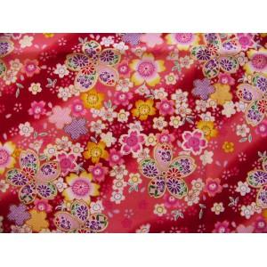 coupon tissu Japonais 55x49cm sakura fleur doré rouge 3 [MANKAI]