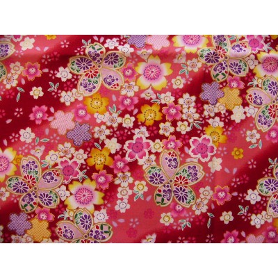 coupon tissu Japonais traditionnel fleuri doré fond rouge 3