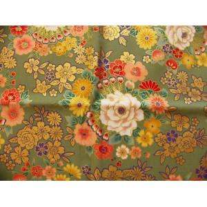 coupon tissu Japonais traditionnel 55x49cm fleuri doré fond vert 4