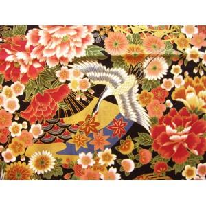 coupon tissu Japonais traditionnel 55x49cm fleuri doré fond noir 6