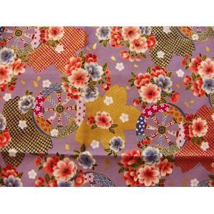 coupon tissu Japonais traditionnel 55x49cm fleuri doré fond violet 7