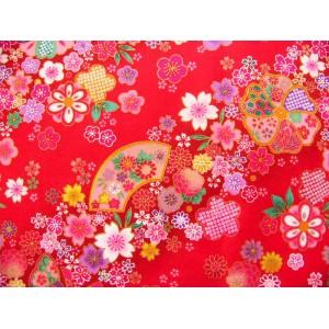 coupon tissu Japonais traditionnel 55x49cm fleuri doré fond rouge 9