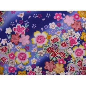 coupon tissu Japonais traditionnel 55x49cm fleuri doré fond bleu 12