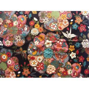 coupon tissu Japonais traditionnel 55x49cm fleuri doré fond noir 14
