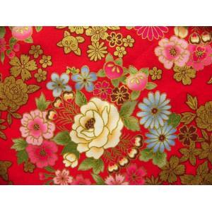 coupon tissu Japonais traditionnel 55x49cm fleuri doré fond rouge 16