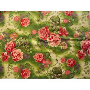 coupon tissu Japonais traditionnel 55x49cm fleuri doré fond vert 17