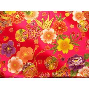 coupon tissu Japonais traditionnel 55x49cm fleuri doré fond fuchsia 18