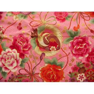 coupon tissu Japonais traditionnel 55x49cm fleuri doré fond rose clair 19