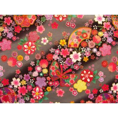 coupon tissu Japonais traditionnel 55x49cm fleuri doré fond gris 20