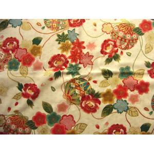 coupon tissu Japonais traditionnel 55x49cm fleuri doré fond crème 22