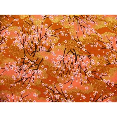 coupon tissu Japonais traditionnel 55x49cm fleuri doré fond orange 23