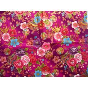 coupon tissu Japonais traditionnel 55x49cm fleuri doré fond violet 26