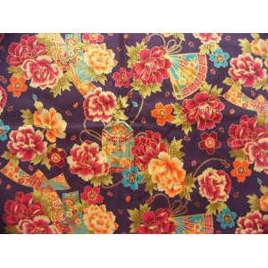 coupon tissu Japonais 55x49cm boite éventail fleur violet nuit 27 [TANZAKU]