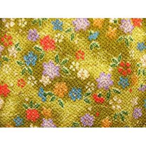 coupon tissu crêpe Chirimen Japonais 35x24cm fleur doré vert 32