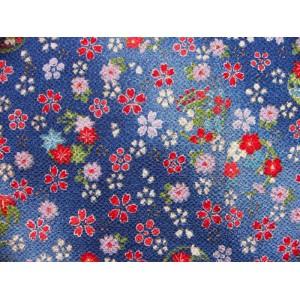 coupon tissu crêpe Chirimen Japonais 35x24cm fleur doré bleu 34