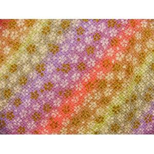 coupon tissu crêpe Chirimen Japonais 35x24cm fleur doré multicouleur 35