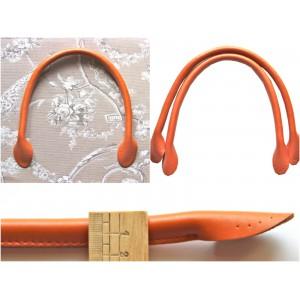 Paire d'anses poignées de sac rondes en cuir véritable 40cm ( camel )