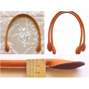 Paire d'anses poignées de sac rondes en cuir véritable 50 cm ( camel )