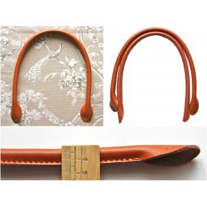 Paire d'anses poignées de sac rondes en cuir véritable 50 cm ( brique)