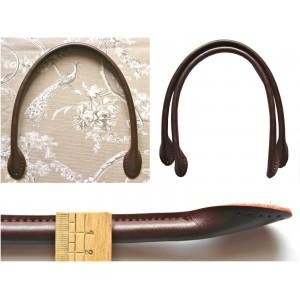 Paire d'anses poignées de sac rondes en cuir 50 cm ( chocolat)