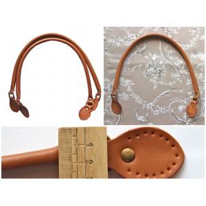Paire d'anses poignées de sac rondes avec boucle en cuir véritable 60 cm ( camel )