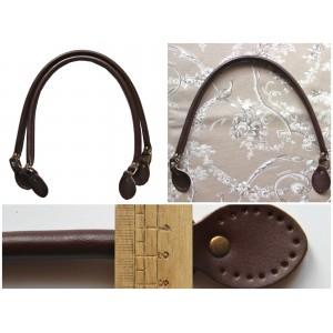 Paire d'anses poignées de sac rondes avec boucle en cuir véritable 60 cm ( chocolat )