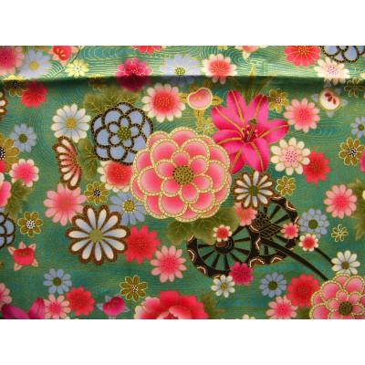 coupon tissu Japonais traditionnel 55x49cm fleuri doré fond vert 36
