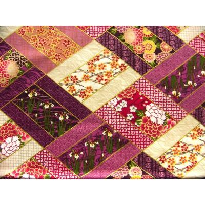 coupon tissu Japonais traditionnel 55x49cm fleuri doré fond violet et crème 37