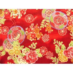 coupon tissu Japonais 55x49cm cercle fleur rouge 41