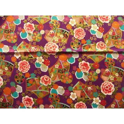 coupon tissu Japonais traditionnel 55x49cm fleuri doré fond violet 47