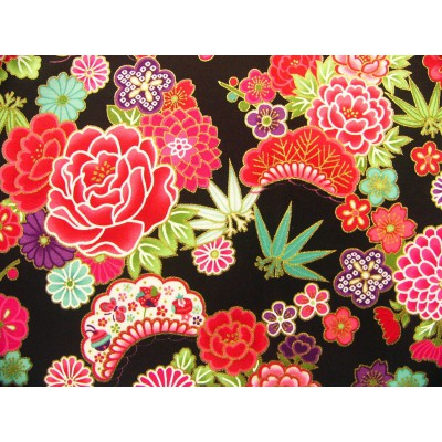 coupon tissu Japonais traditionnel 55x49cm fleuri doré fond noir 50