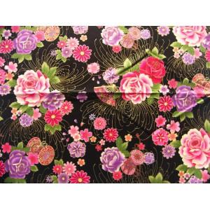 coupon tissu Japonais 55x49cm tambour éventail fleur doré noir 51 [SHIDARE]