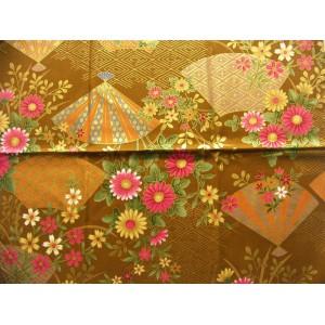 coupon tissu Japonais traditionnel 55x49cm fleuri doré fond ocre 52