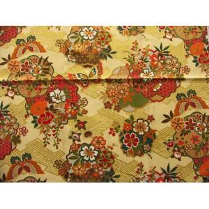 coupon tissu Japonais 55x49cm papillon fleur doré creme 53