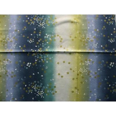 coupon tissu Chirimen Japonais traditionnel 55x49cm fleuri doré fond bleu 55