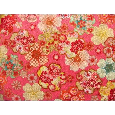 coupon tissu Chirimen Japonais traditionnel 55x49cm fleuri doré fond rose 57