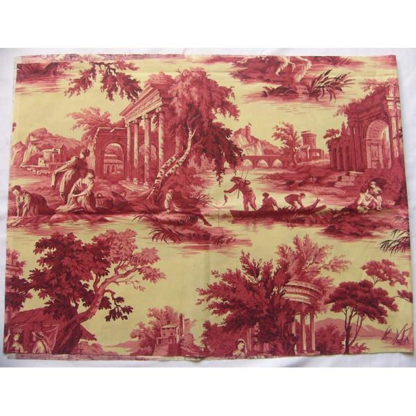 Toile de jouy tissu romantique tissu au m tre - Housse de couette toile de jouy rouge ...