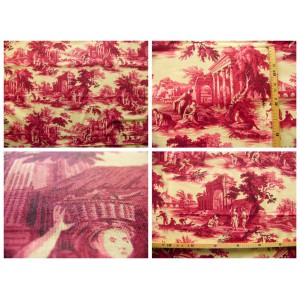 coupon tissu Toile de Jouy Toile de Jouy SCENES DE PECHE (rouge fd crème)