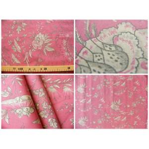 tissu coupon / par 50cm : SATI gris fond rouge